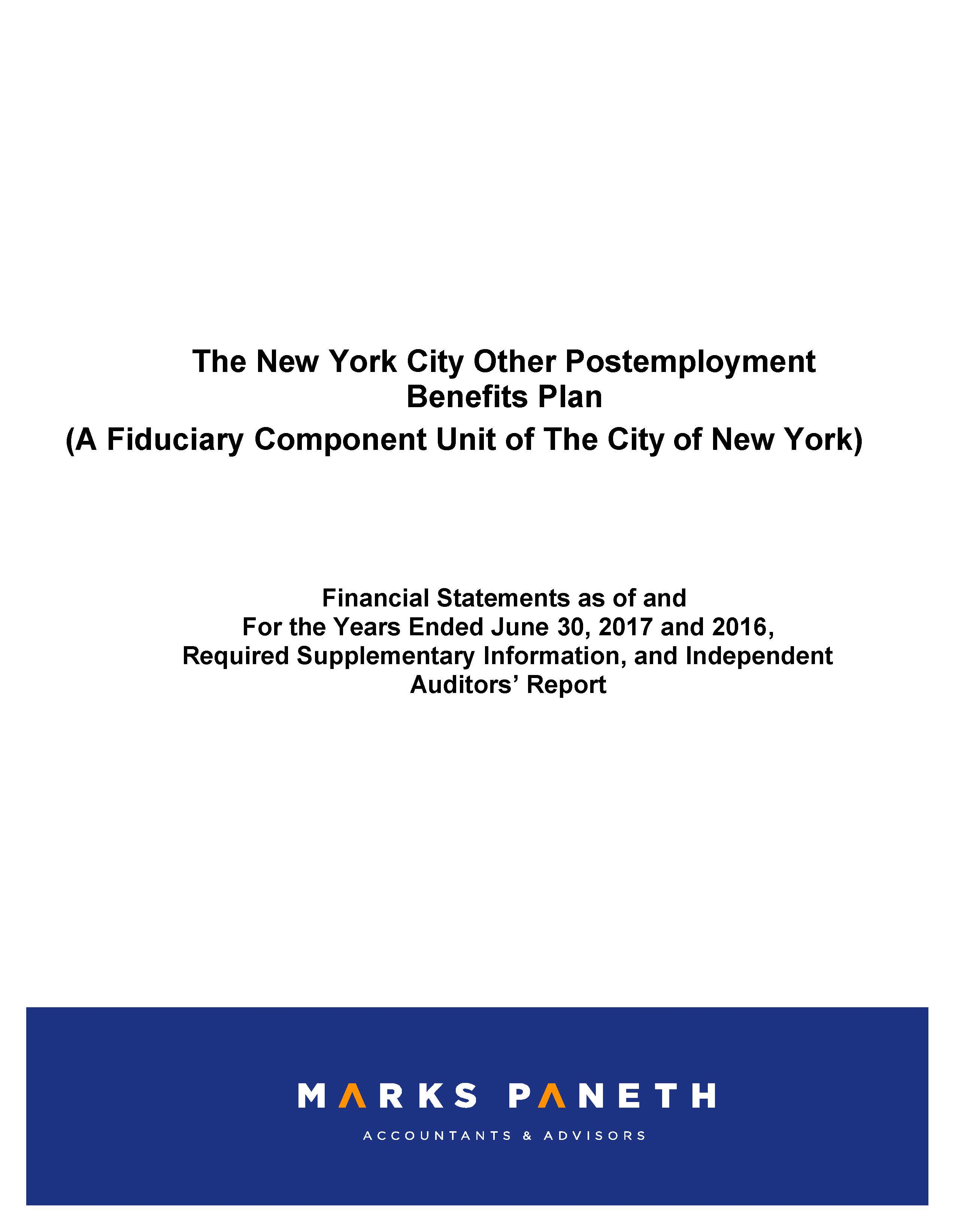 The New York City Other Postemployment Benefits Plan A Fiduciary