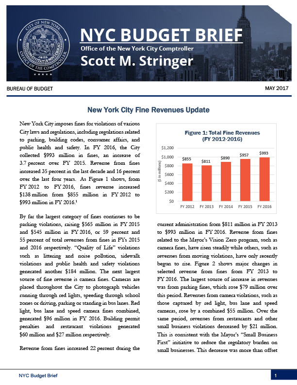 New York City Fine Revenues Update : Office of the New York