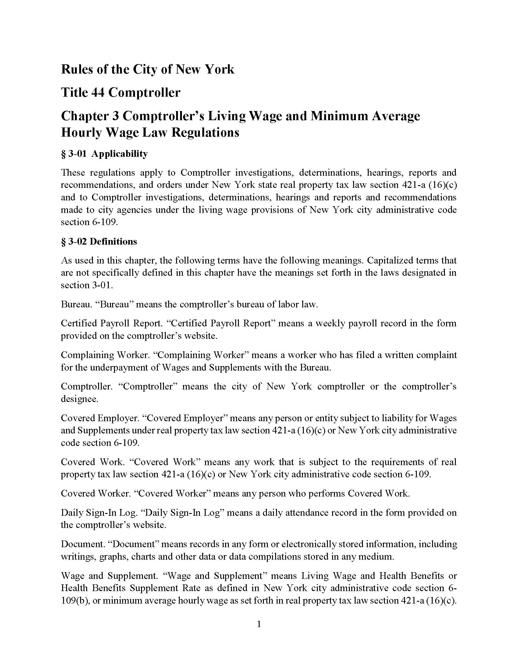 Comptrollers Living Wage And Minimum Average Hourly Law Regulations
