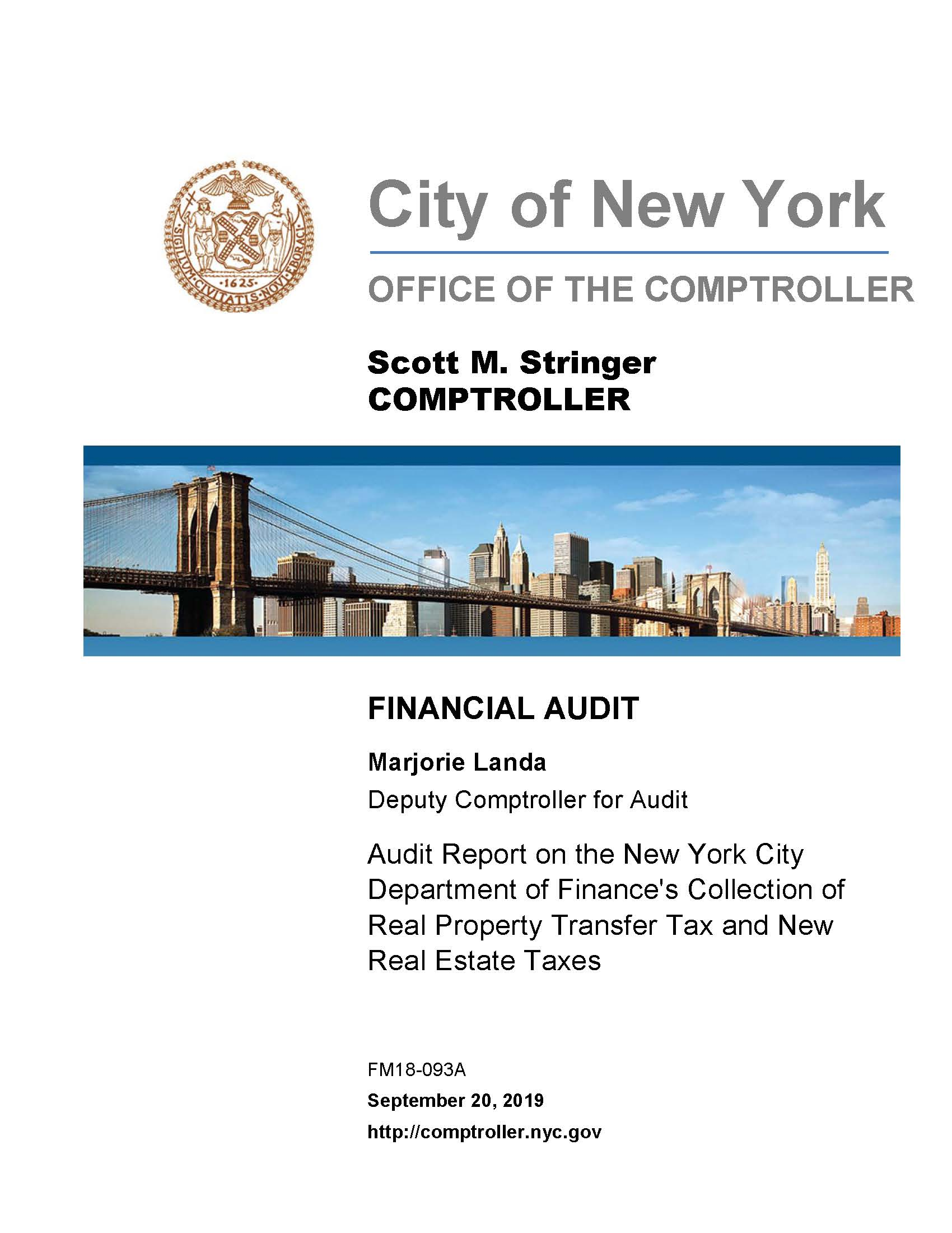 New York City Real Estate Taxes Are The Unfairest Of Them: Audit Report On The New York City Department Of Finance's