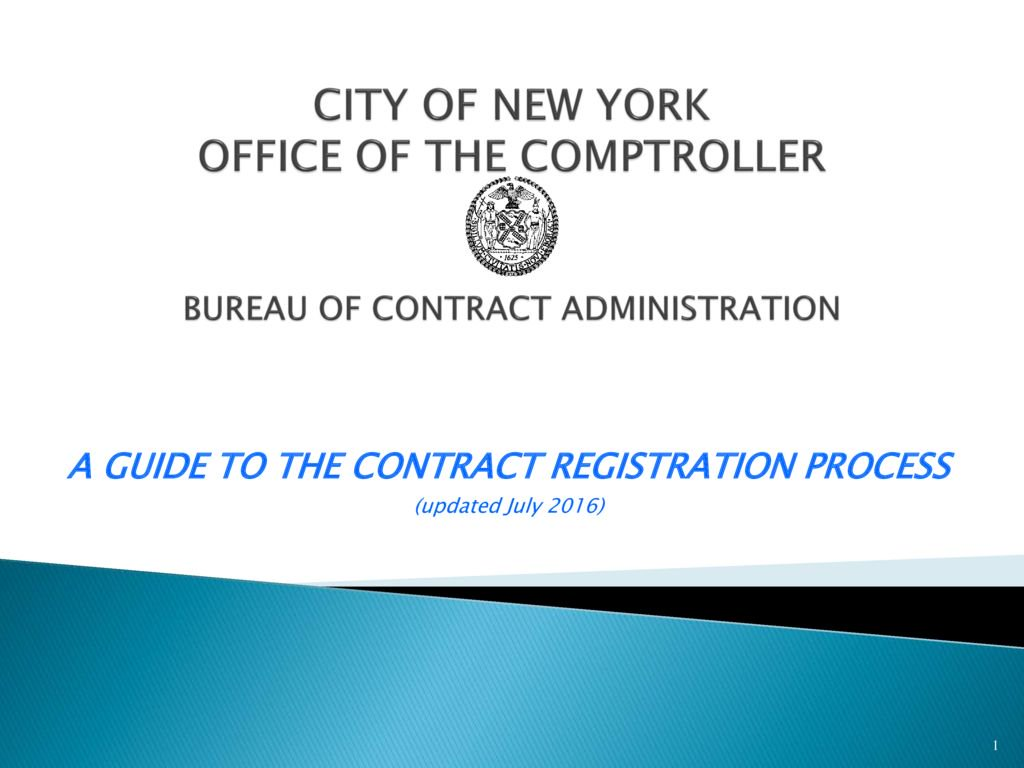 Contract Registration : Office of the New York City Comptroller ...
