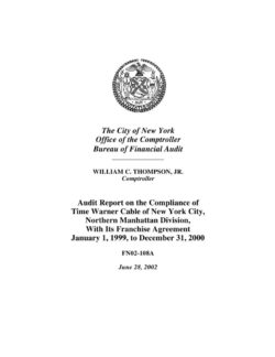 Audit report on the compliance of time warner cable of new york audit report on the compliance of time warner cable of new york city northern manhattan division with its franchise agreement platinumwayz