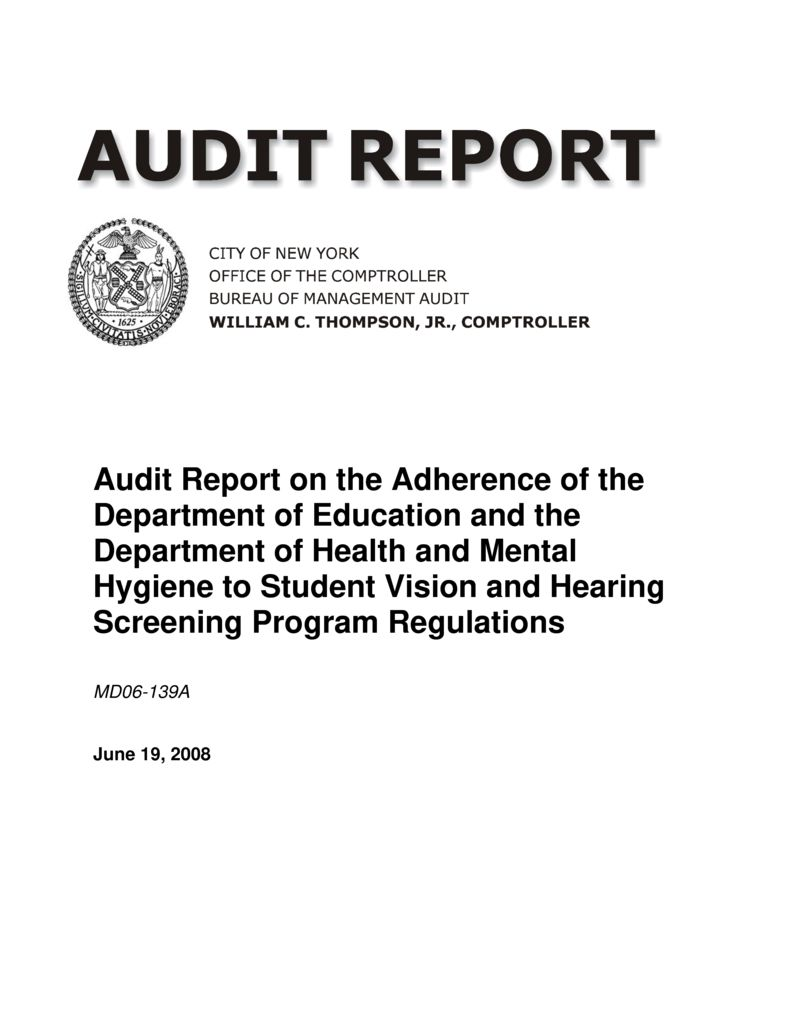 Audit Report on the Adherence of the Department of ...