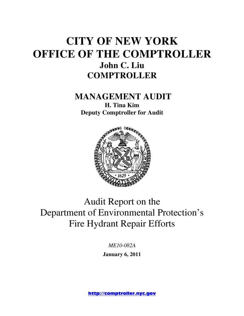 Audit Report On The Department Of Environmental Protection's