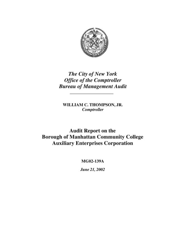 Audit Report on the Borough of Manhattan Community College Auxiliary