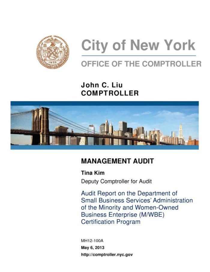 Audit Report On The Department Of Small Business Services