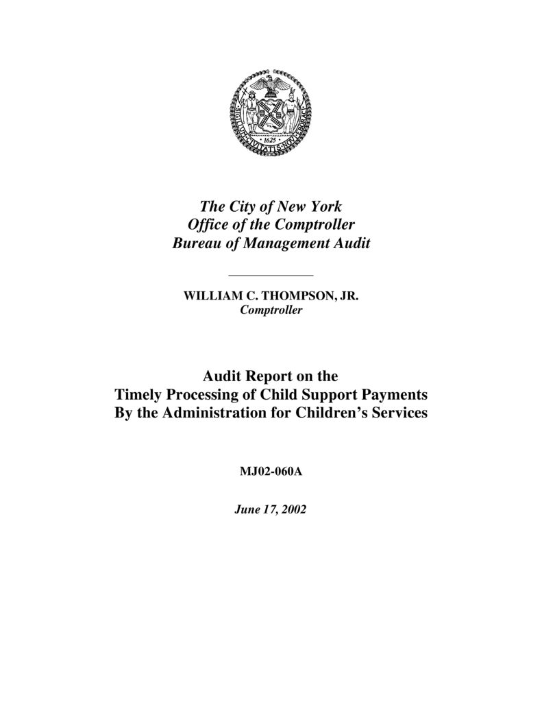 Audit Report On The Timely Processing Of Child Support
