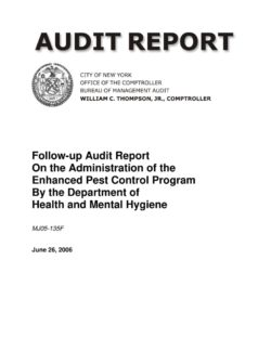 follow up audit report on the administration of the enhanced pest control program by the department of health and mental hygiene