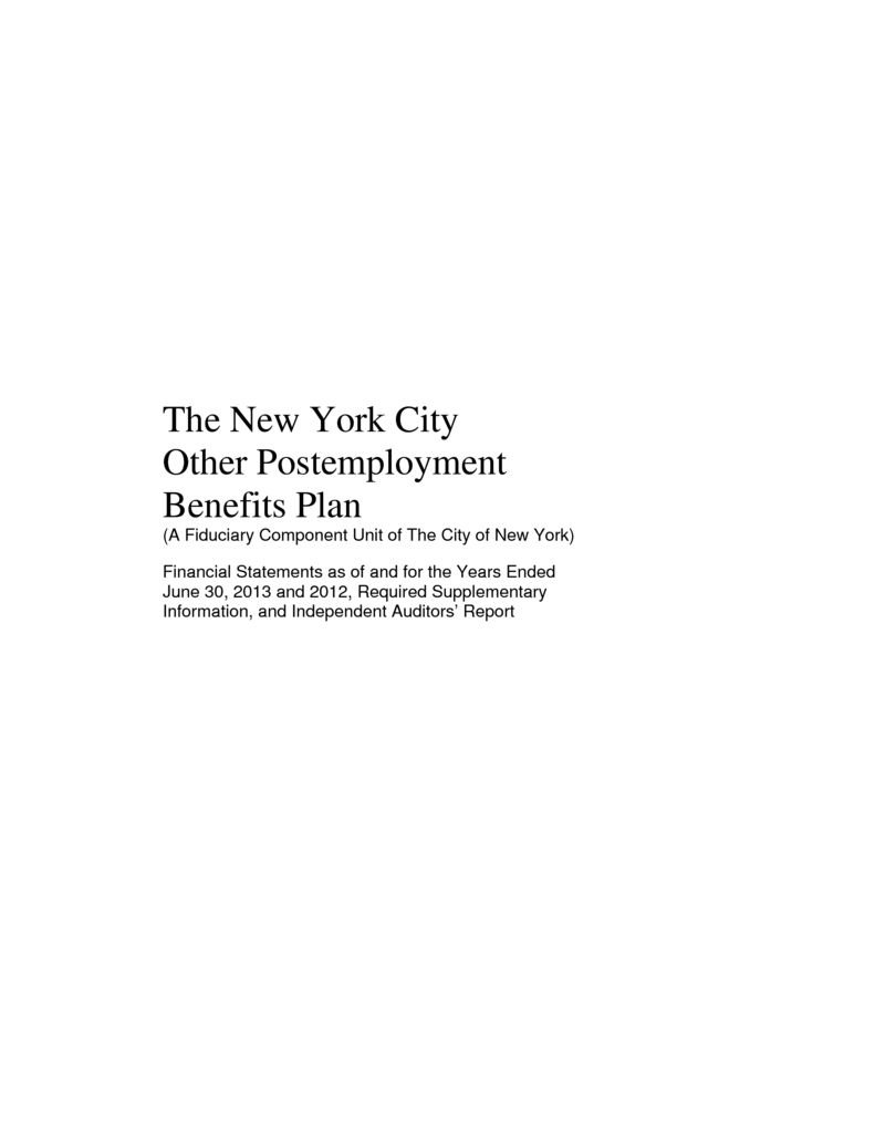 Nyc Fiduciary Funds Financial Statements Office Of The New York
