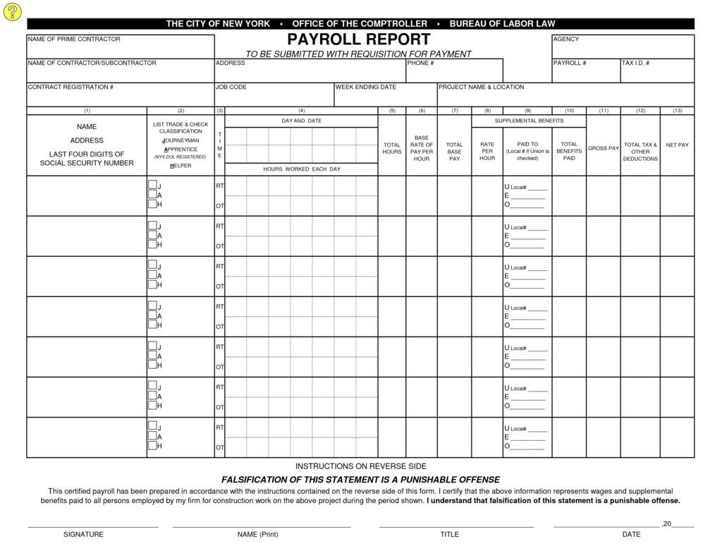 Employers Responsibilities Office of the New York City – Certified Payroll Form